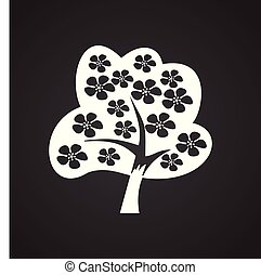 Blossoming tree on white background for web or app using