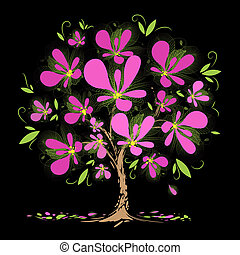 Blossoming tree with pink flowers