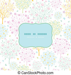 Blossoming trees frame seamless pattern background