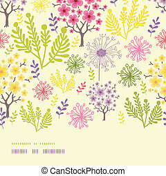 Blossoming trees horizontal border seamless pattern background