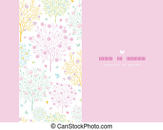 Blossoming trees horizontal card seamless background