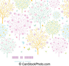 Blossoming trees horizontal template seamless background