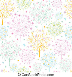Blossoming trees seamless pattern background