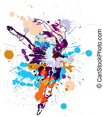 Blot ballerina - Dancing girl with colorful spots and...