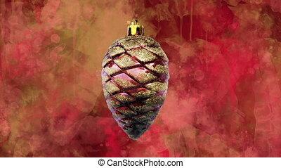 blots., цветной, back-ground, красный, украшение, акварель, рождество, конус