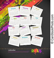 blots, グランジ, 色, -, イラスト, ベクトル, 2015, カレンダー
