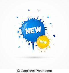 blots, błękitny, tytuł, ikony, sprzedaż, żółty, wektor, nowy