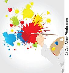 blots, canovaccio., artista, illustrazione, vettore, disegnato, ha