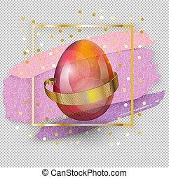 blots, carré rose, verre, oeuf de pâques, square., banner., or, arrière-plan., transparent