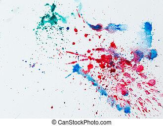 blots, coloridos, sobre, aquarela, branca, paper.