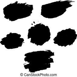 blots, conjunto, negro
