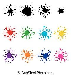 blots, ensemble, coloré