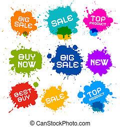 blots, grunge, kleurrijke, iconen, gespetter, verkoop, ...