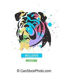 blots, illustration., coloré, bouledogue, graphique, stylisé, arrière-plan., vecteur, artistique, sauvage, animal.