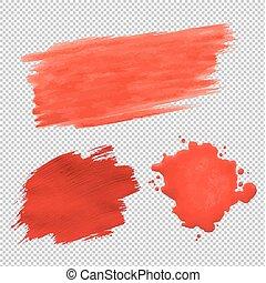 blots, set, trasparente, fondo, rosso