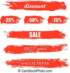 Blots, stains to label, discount, best price. Set of illustration in grunge style. Red grunge banners. Vector illustration EPS10