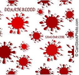 blots, színezett, motívum, csepp, elszigetelt, seamless, tinta, árnyék, white piros