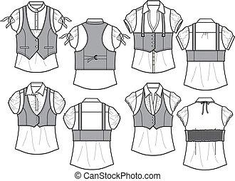 blouse, bengaline, vest, dame