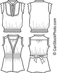 blouse, dame, chiffon