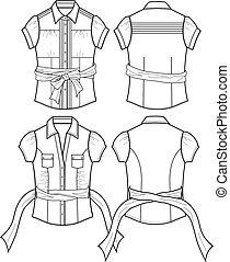 blouse, dame, details, lint
