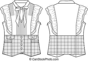 blouse, dame, gecontroleerde, formeel