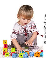 blouse, embroided, klein meisje, speels
