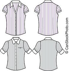 blouse, mode, dame, streep, formeel