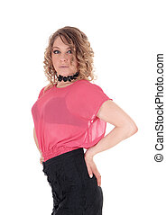 blouse., roze, mooie vrouw, jonge