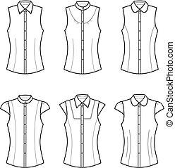 Vector illustration of women's blouses