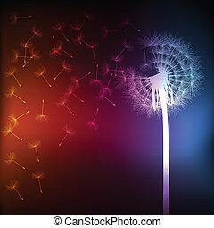 Blow dandelion vector background concept