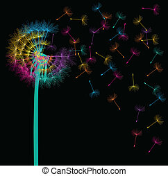 Blow dandelion vector background concept