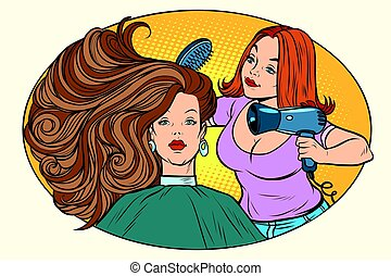 blow drying women hair Barber. Comic book cartoon pop art...