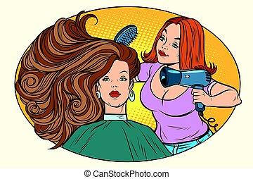 blow drying women hair Barber. Comic book cartoon pop art ...
