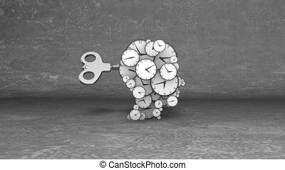 """""""3d rendering of blow your mind clock faces with rotating hour and minute hands in the grey background. A big key winding up them"""""""