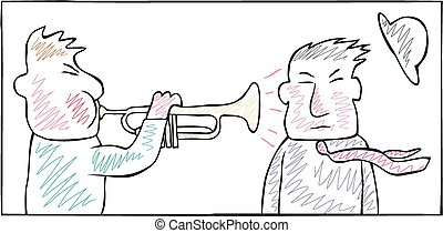 A man blasts his trumpet into another's ear.