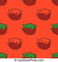 Blowfish seamless pattern