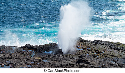 Blowhole at Suarez Point on Galapagos - Sea spout or blow ...