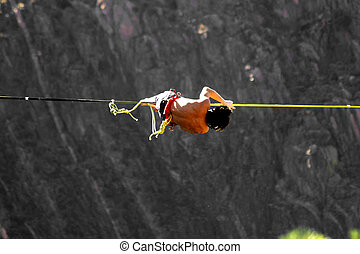 Blowin\\\' in the Wind - Slack line walker at Royal Gorge...