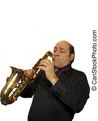 Blowin some blues - ,part of the sax mans series,over white