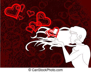 silhouette of a girl blowing kisses, on a grunge background. Graphics are grouped and in several layers for easy editing. The file can be scaled to any size.
