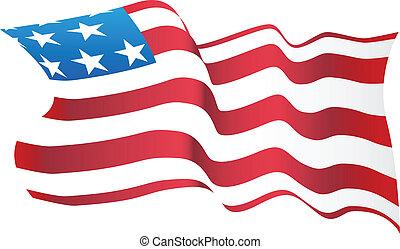 Blowing American Flag