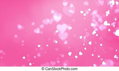 Blowing and Disappearing small Pink Hearts flowing on White Loop background