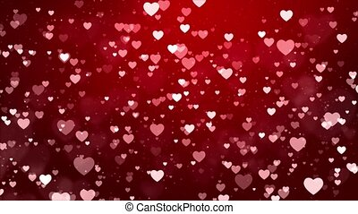 Blowing and Disappearing small red Hearts flowing on White Loop background