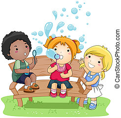 Blowing Bubbles - Children blowing Bubbles in the Park with...