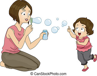 Blowing Bubbles - Illustration of a Mother Blowing Bubbles...