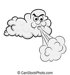blowing cloud cartoon design isolated on white background