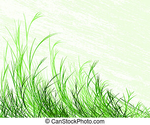 Blowing grass - Illustration of long grass with grunge...