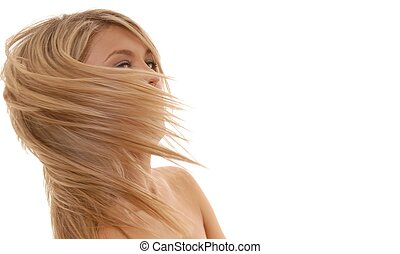 Blowing Hair - Dynamic lovely lady with hair blowing