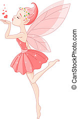 Blowing kisses Fairy - Beautiful love fairy sanding blowing...