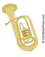 BLOWING MUSIC; BRASS HORN; GRAPHICS